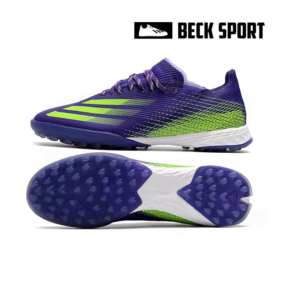 Giày Bóng Đá Adidas X Ghosted.1 Tím Vạch Xanh Lá V2 TF