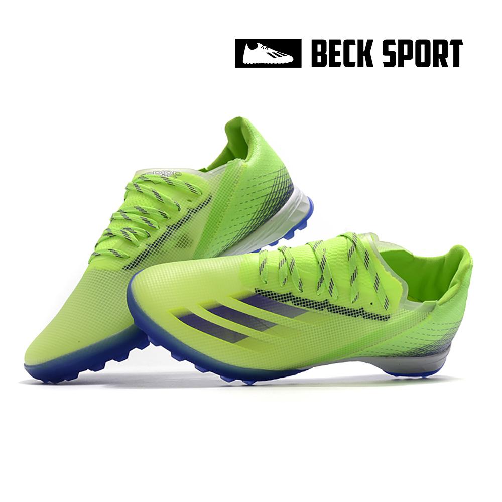 Giày Bóng Đá Adidas X Ghosted.1 Xanh Lá Vạch Tím TF