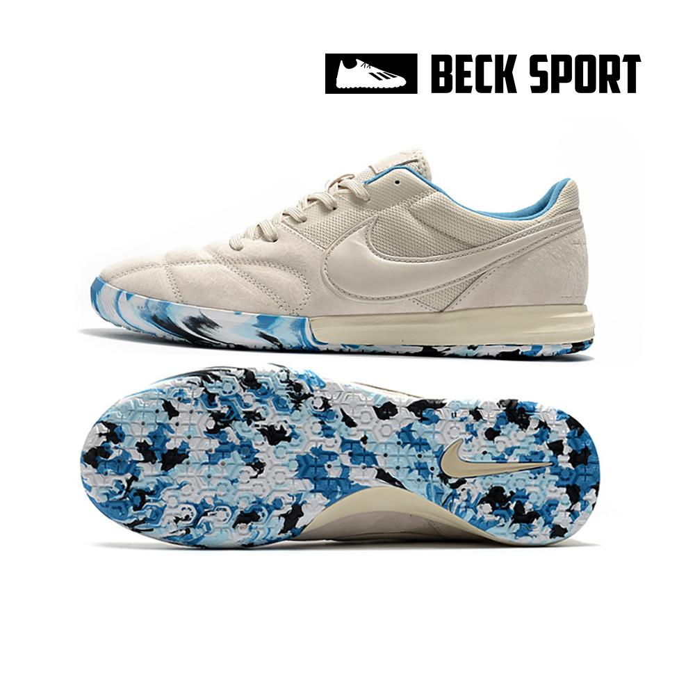 Giày Bóng Đá Nike Premier II Sala Trắng Ngà Đế Xanh Biển Rằn Ri IC