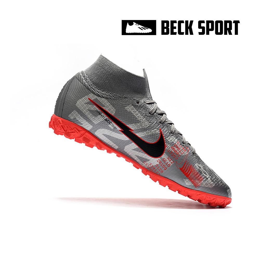 Giày Bóng Đá Nike Mercurial Superfly 7 Elite Xám Hồng Vạch Đen Cổ Cao V2 TF