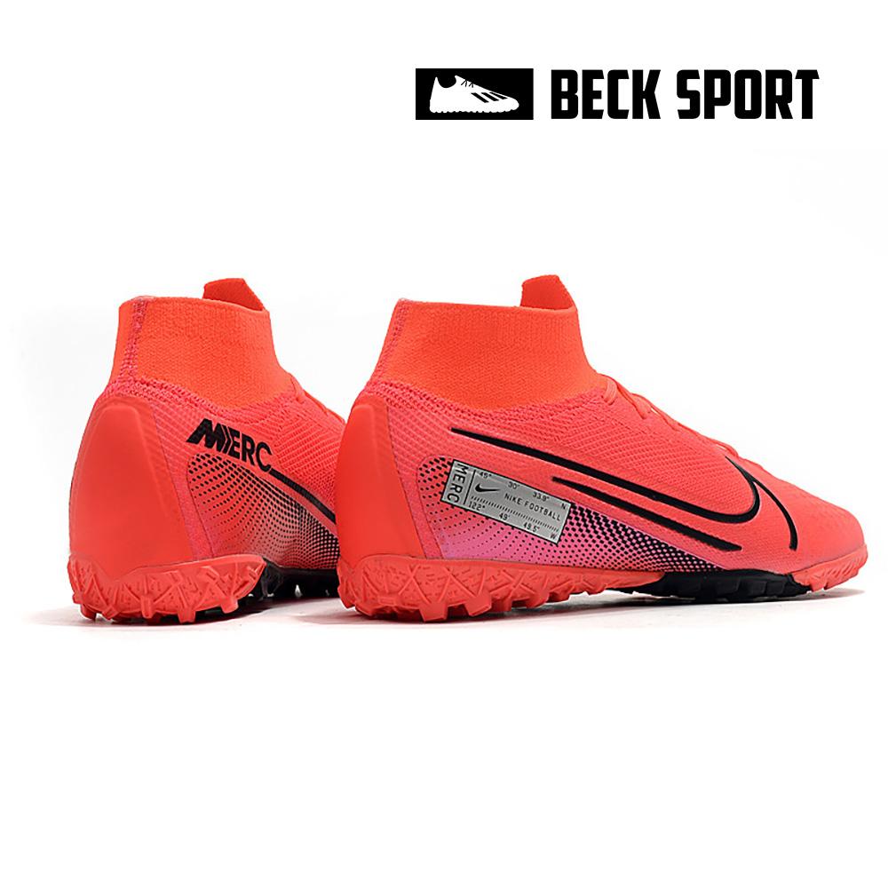 Giày Bóng Đá Trẻ Em Nike Mercurial Superfly 7 Elite Đỏ Hồng Vạch Đen Cổ Cao TF