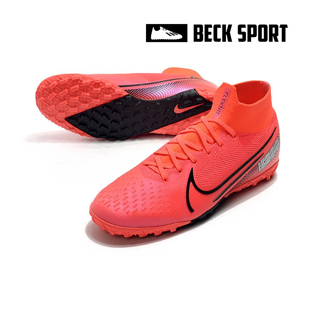 Giày Bóng Đá Nike Mercurial Superfly 7 Elite Đỏ Hồng Vạch Đen Cổ Cao TF