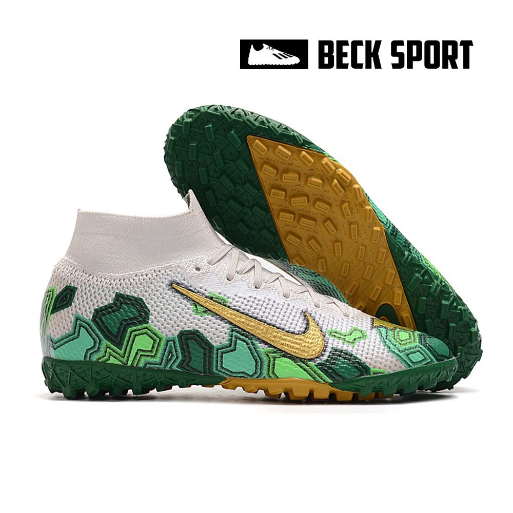 Giày Bóng Đá Nike Mercurial Superfly 7 Elite Mbappe Xanh Lục Vạch Vàng Cổ Cao V2 TF