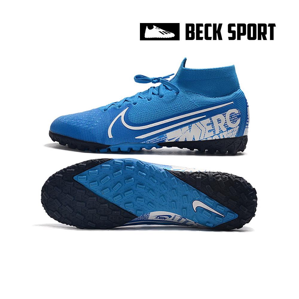 Giày Bóng Đá Nike Mercurial Superfly 7 Elite Xanh Biển Vạch Trắng Cổ Cao TF