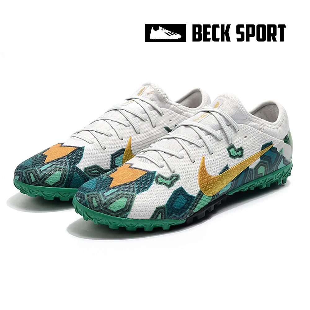 Giày Bóng Đá Nike Mercurial Vapor 13 Pro Mbappe Xám Xanh Lục Vạch Vàng Cổ Lửng HQ TF