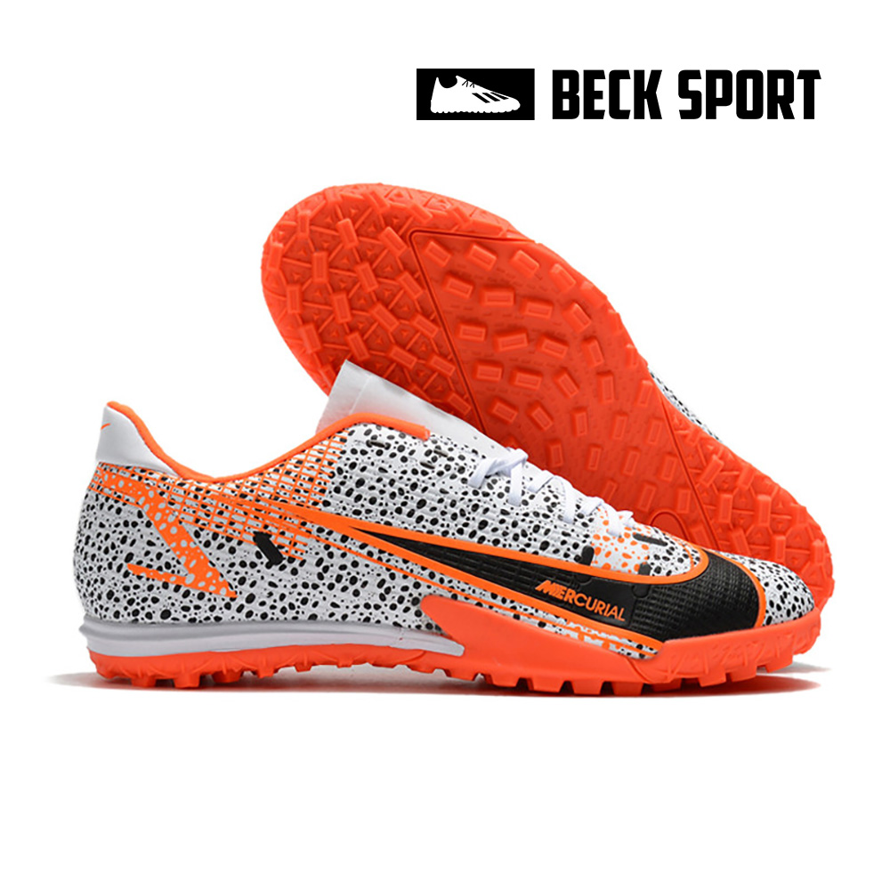Giày Bóng Đá Nike Mercurial Vapor 14 Academy Safari Trắng Đen Vạch Cam V2 TF