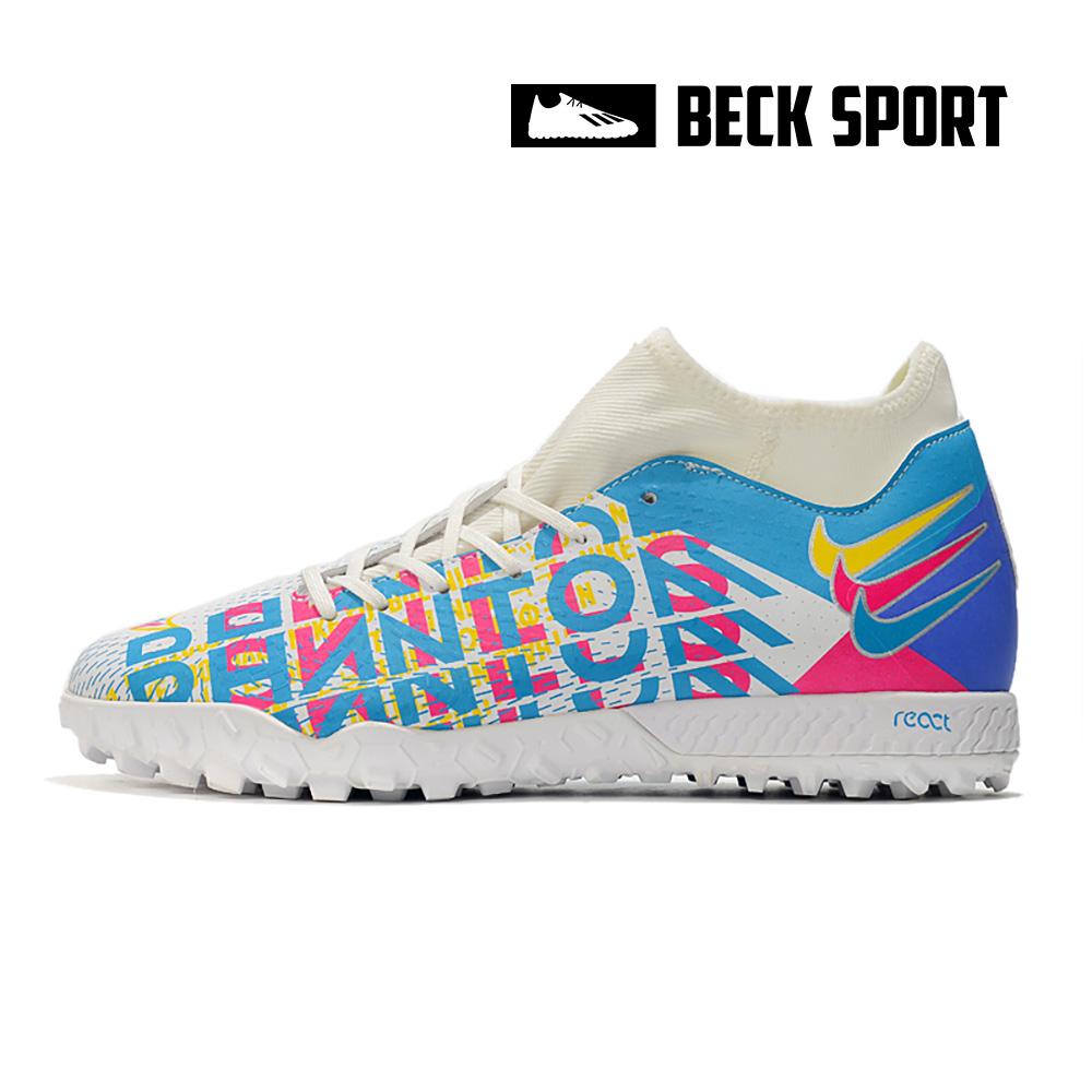 Giày Bóng Đá Nike Phantom GT 3D Academy Trắng Xanh Biển Cổ Cao TF