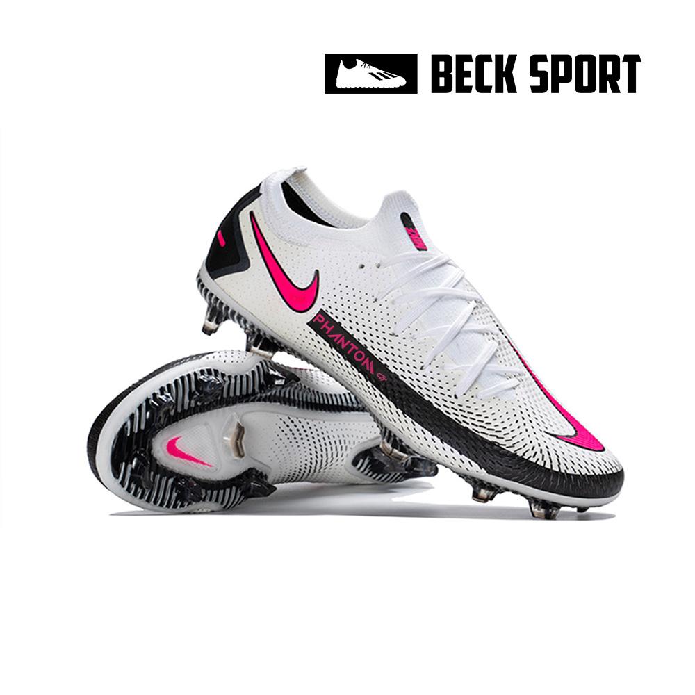 Giày Bóng Đá Nike Phantom GT Elite Trắng Đen Vạch Hồng Cổ Lửng FG