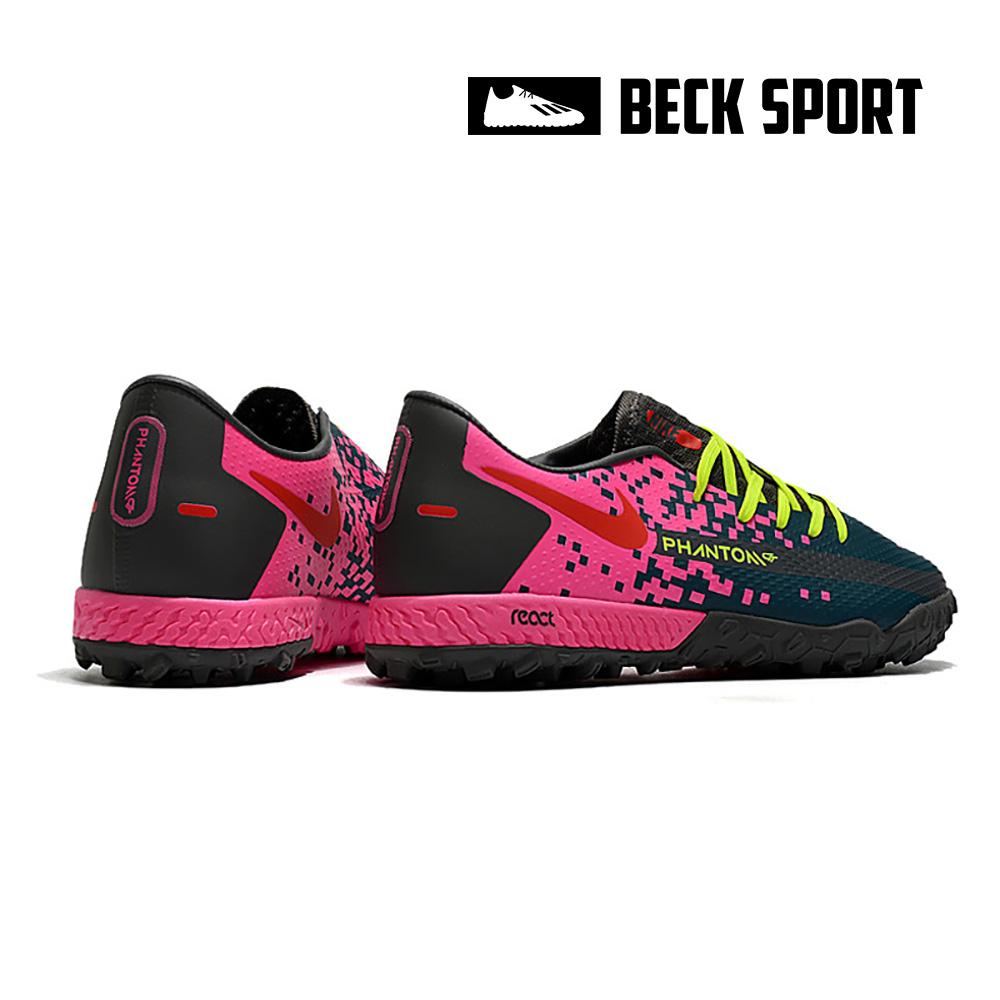 Giày Bóng Đá Nike React Phantom GT Pro Xanh Đen Gót Hồng TF
