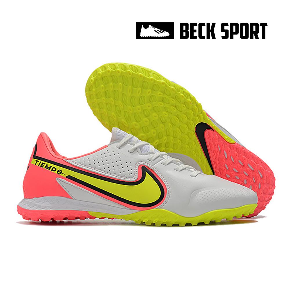 Giày Bóng Đá Nike React Tiempo Legend 9 Pro Trắng Vạch Vàng Gót Hồng TF