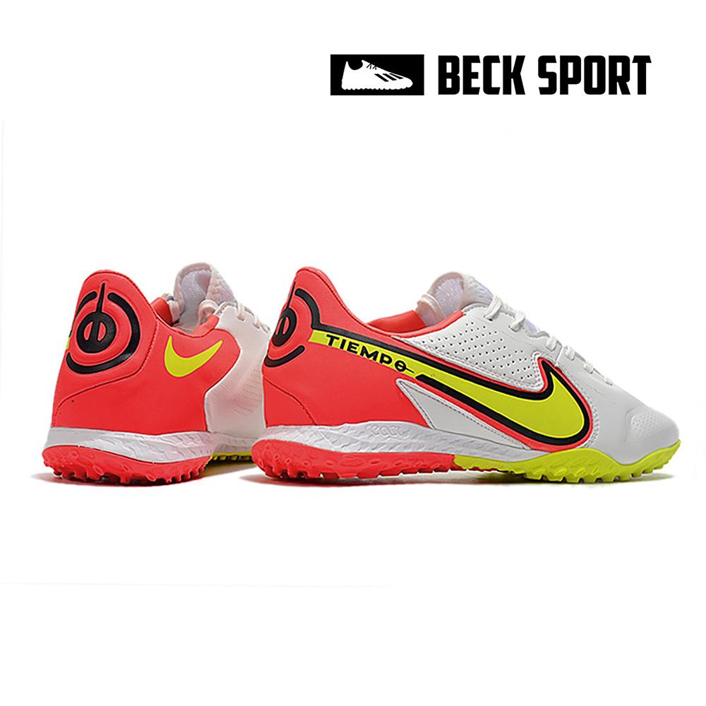 Giày Bóng Đá Nike React Tiempo Legend 9 Pro Trắng Vạch Vàng Gót Đỏ Cam TF