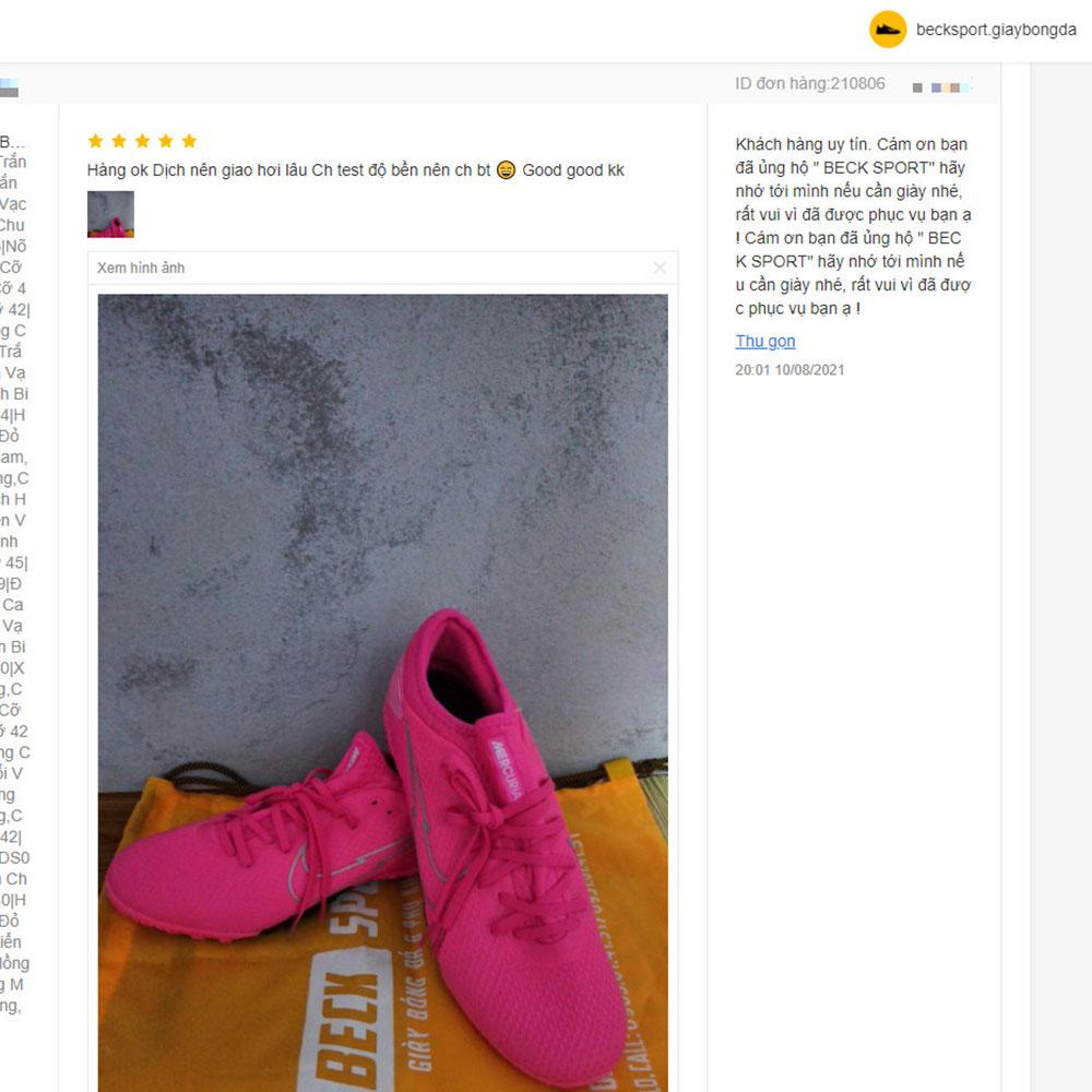 Giày Bóng Đá Nike Mercurial Vapor 13 Pro Mbappe Hồng Vạch Trắng Cổ Lửng HQ TF