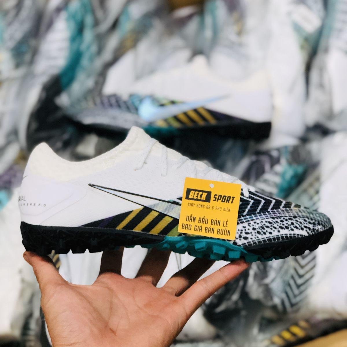 Giày Bóng Đá Nike Mercurial Vapor 13 Pro MDS003 Trắng Mũi Đen Cổ Lửng TF