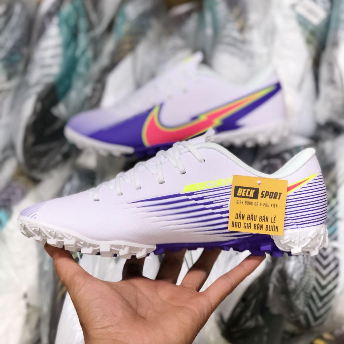 Giày Bóng Đá Nike Mercurial Vapor 13 Academy Trắng Tím Vạch Hồng V2 TF