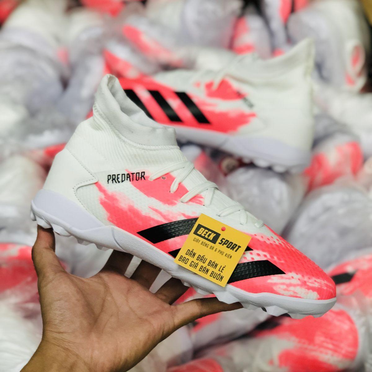Giày Bóng Đá Adidas Predator 20.3 Uniforia Trắng Hồng Vạch Đen Cao Cổ TF