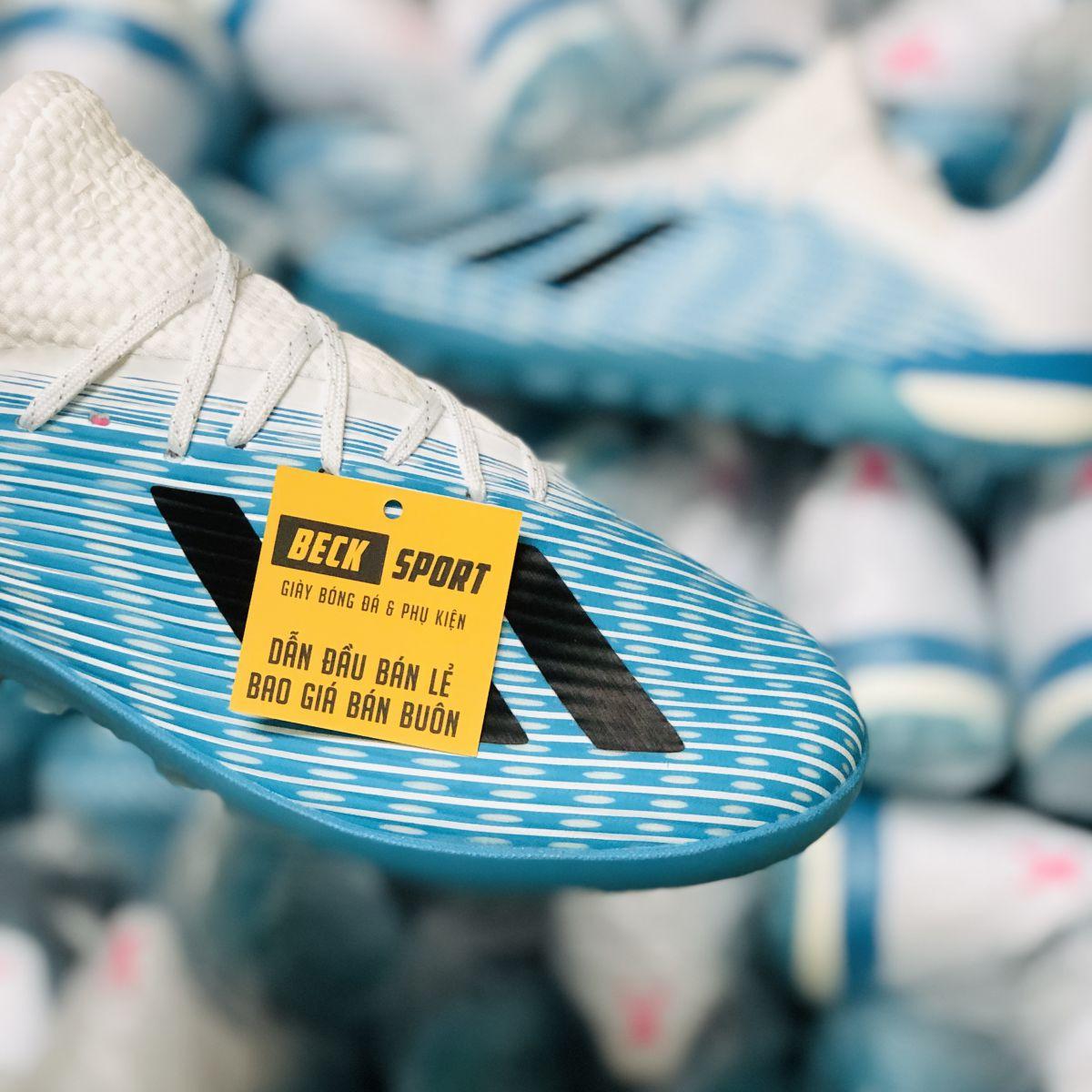 Giày Bóng Đá Adidas X 19.1 Xanh Biển Vạch Đen Gót Trắng TF