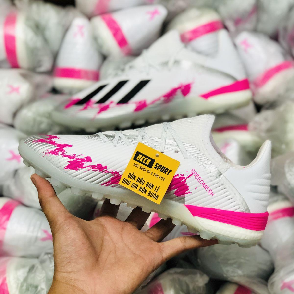 Giày Bóng Đá Adidas X 19.1 Trắng Xám Hồng Vạch Đen TF