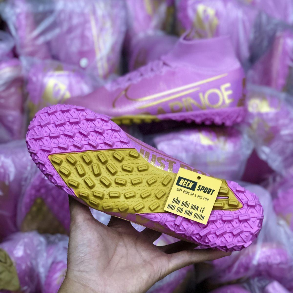Giày Bóng Đá Nike Mercurial Superfly 7 Elite Hồng Vạch Vàng Cổ Cao TF