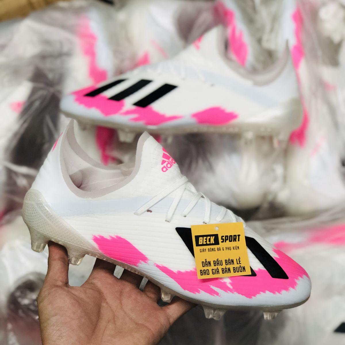 Giày Bóng Đá Adidas X 19.1 Trắng Hồng Vạch Đen Đế Xám FG