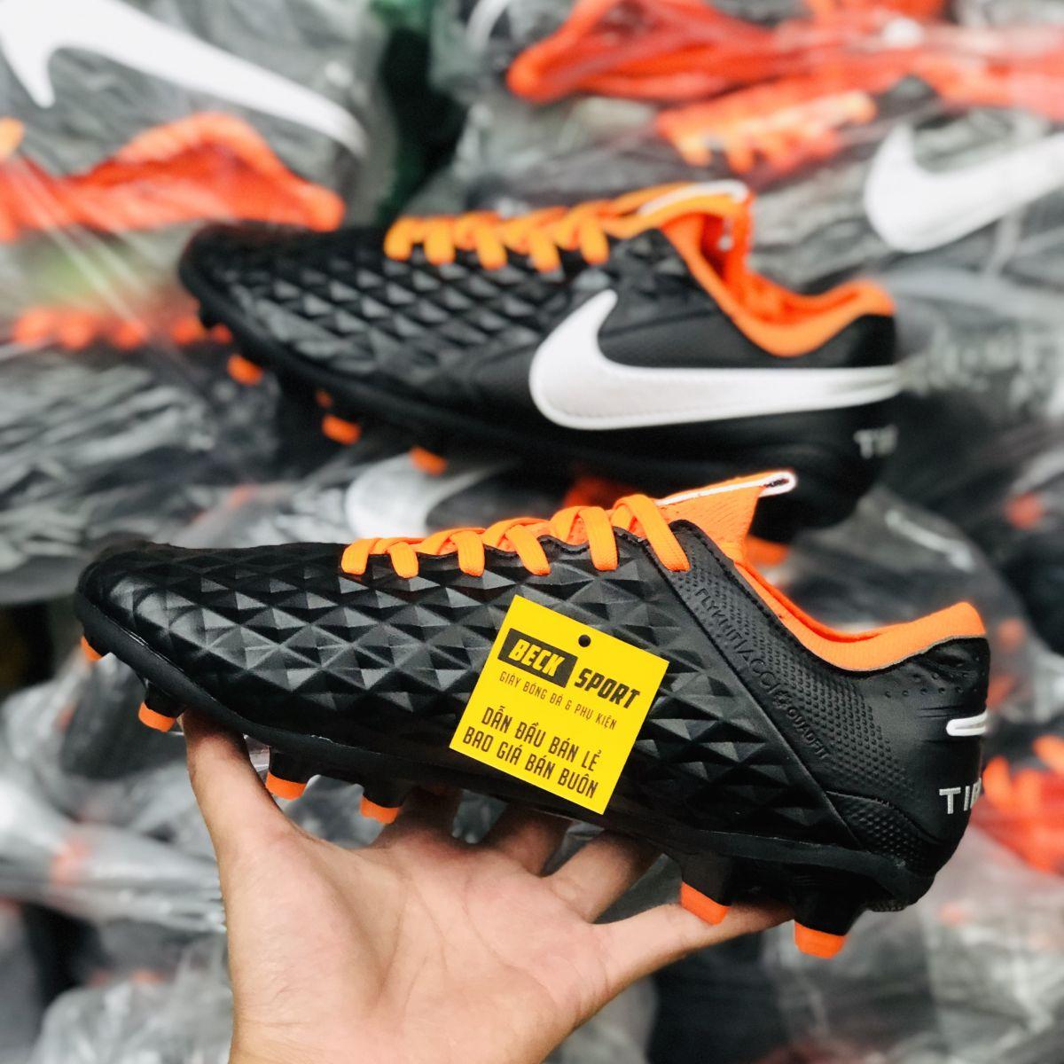 Giày Bóng Đá Nike Tiempo Legend 8 Elite Đen Cam Vạch Trắng FG