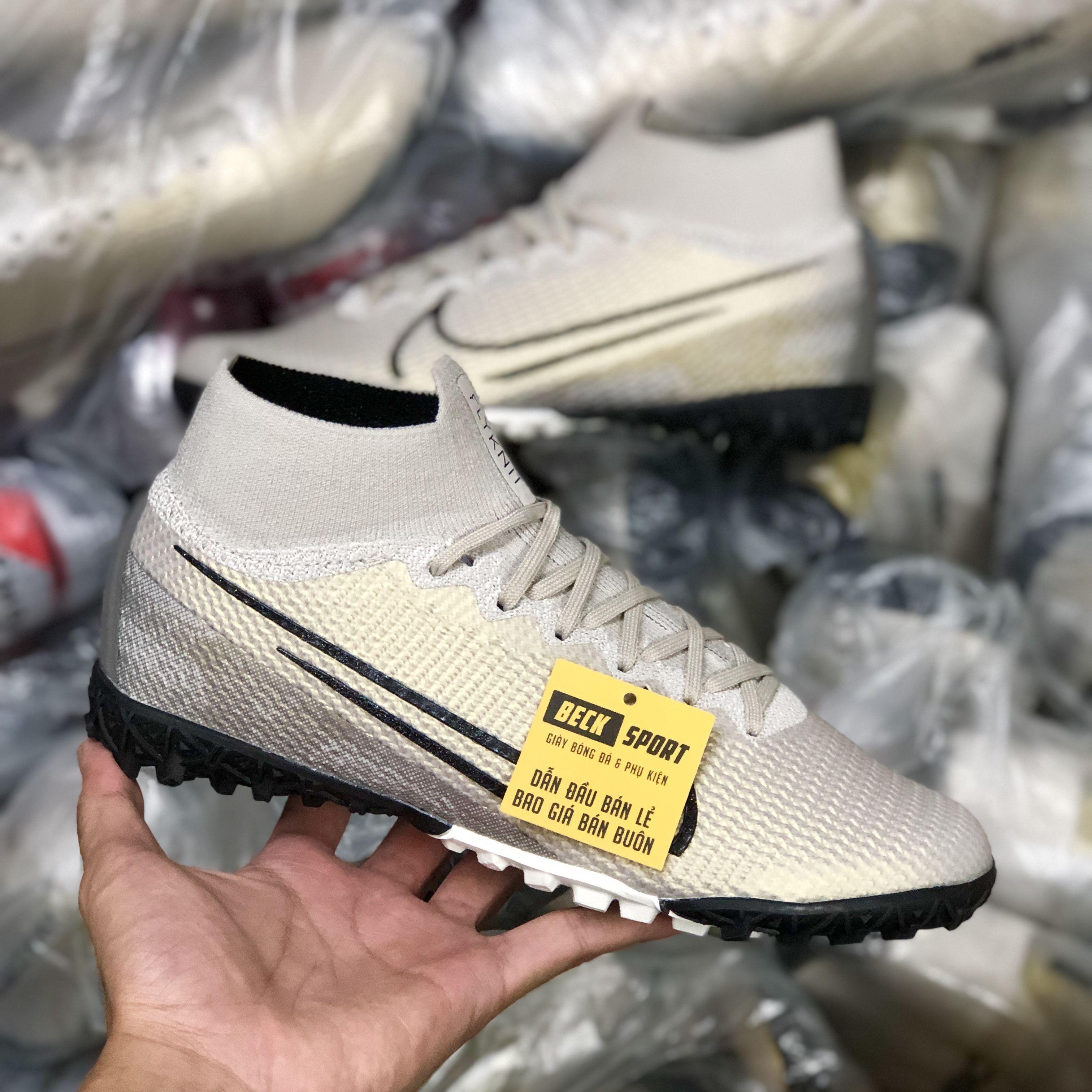 Giày Bóng Đá Nike Mercurial Superfly 7 Elite Nâu Vạch Đen Cao Cổ V2 TF