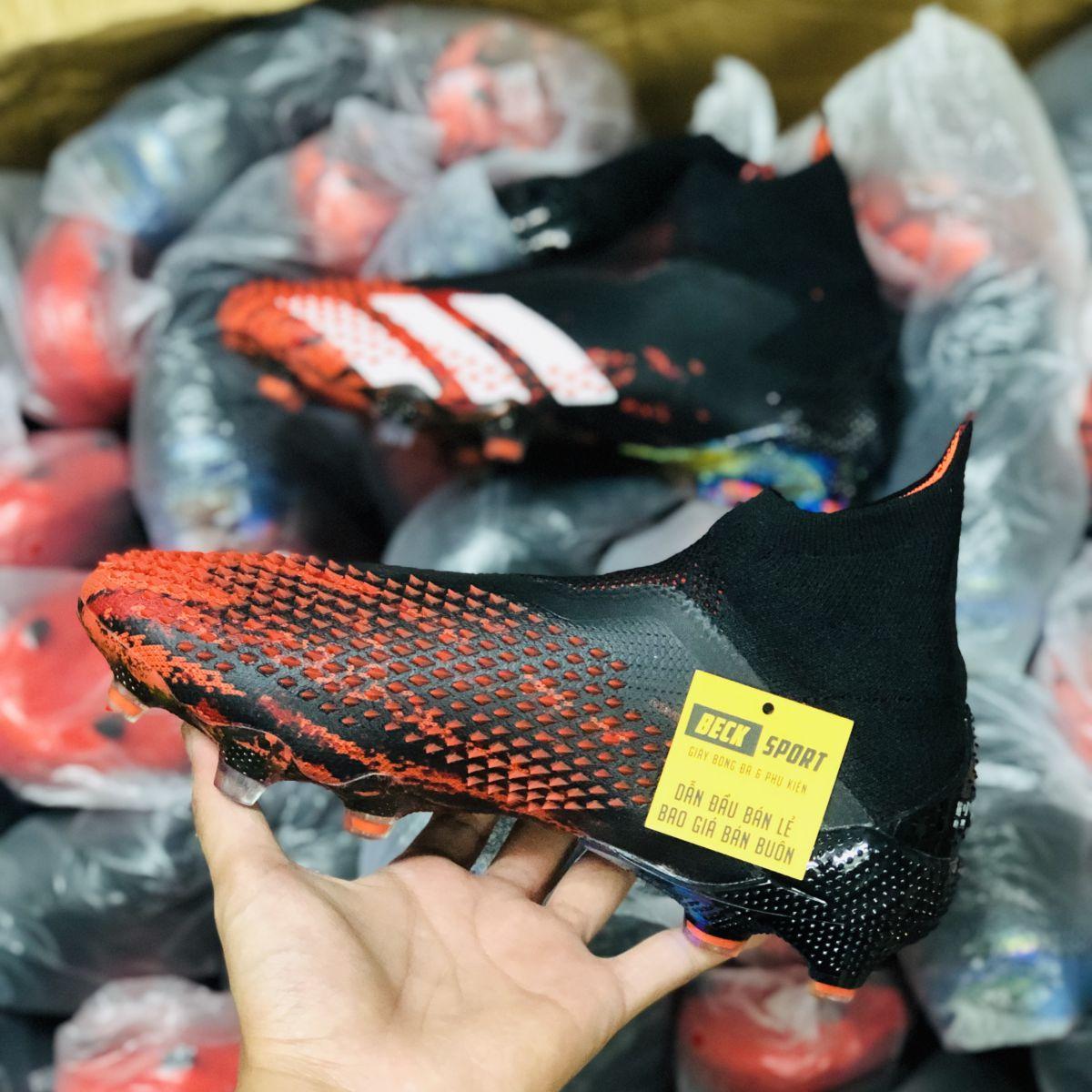 Giày Bóng Đá Adidas Predator 20+ Mutator Đen Mũi Đỏ Vạch Trắng Không Dây Cao Cổ V2 FG