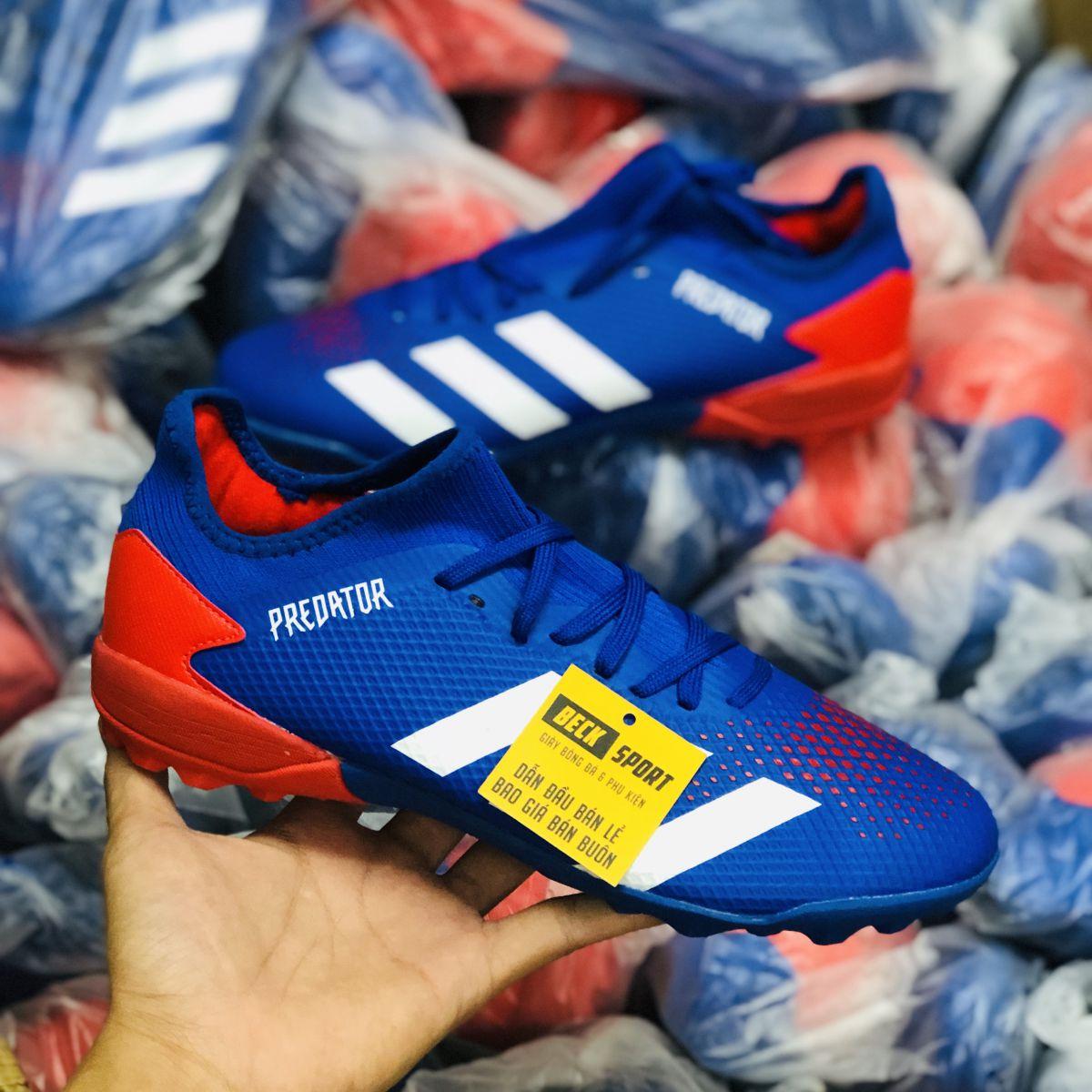Giày Bóng Đá Adidas Predator 20.3 Tormentor Xanh Biển Vạch Trắng Mũi Đỏ Cổ Lửng TF