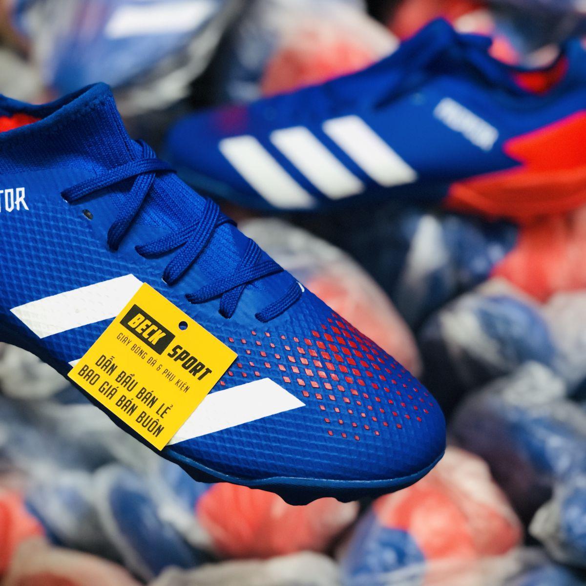 Giày Bóng Đá Adidas Predator 20.3 Tormentor Xanh Biển Vạch Trắng Mũi Đỏ TF