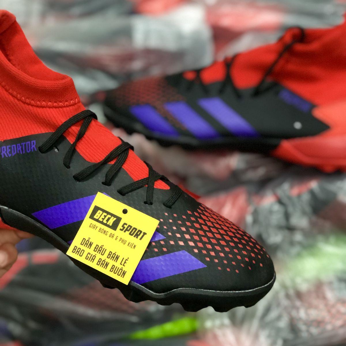 Giày Bóng Đá Adidas Predator 20.3 Đen Gót Đỏ Vạch Tím Cổ Cao TF