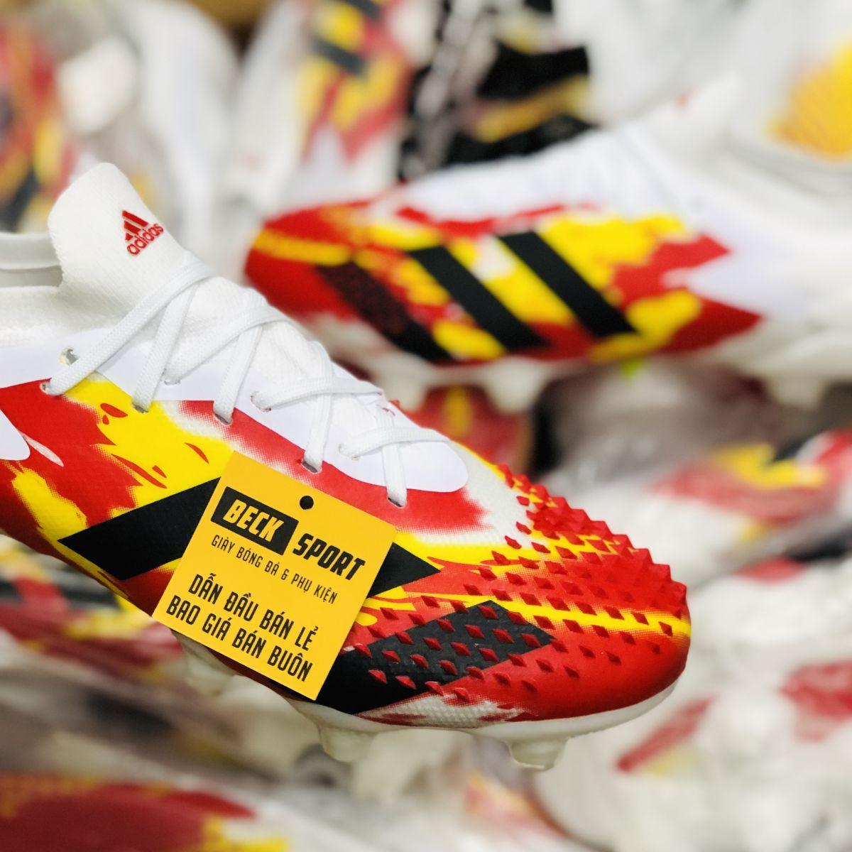 Giày Bóng Đá Adidas Predator 20.1 Uniforia Đỏ Vàng Gót Trắng Vạch Đen FG