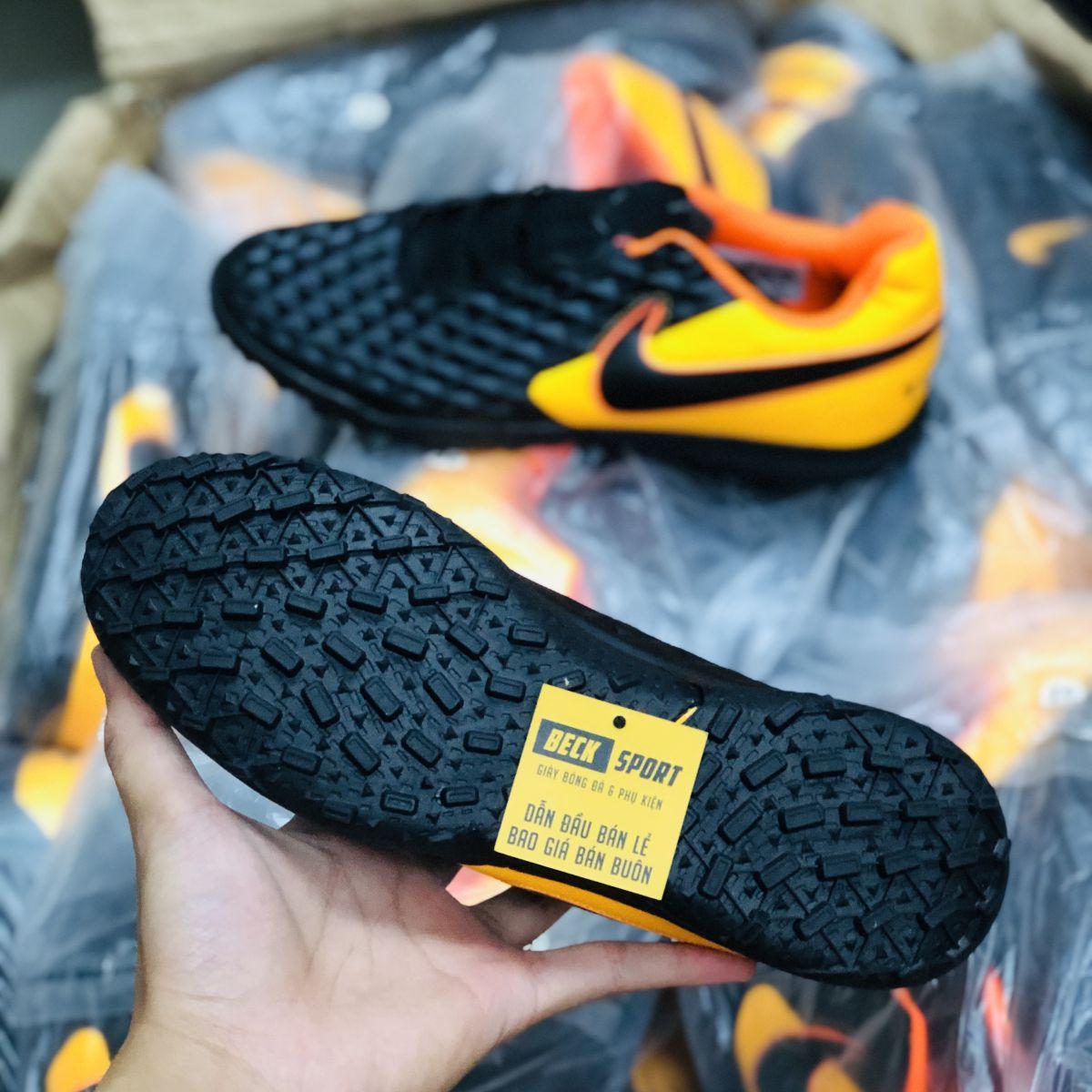 Giày Bóng Đá Nike Tiempo Legend 8 Club Đen Gót Cam Đế Đen TF