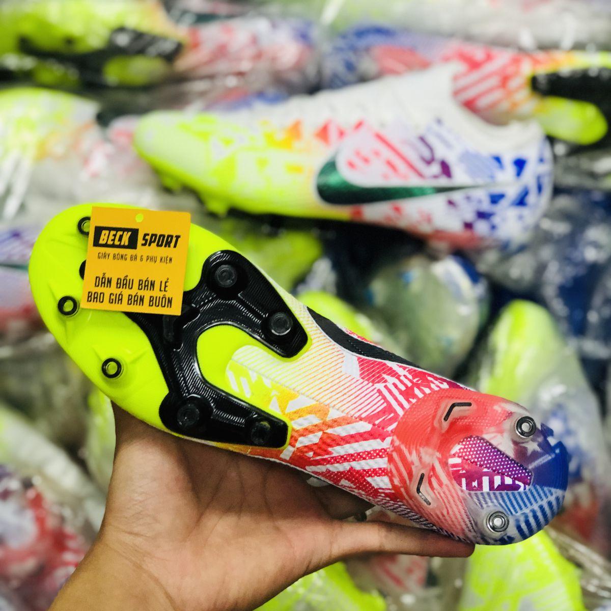 Giày Bóng Đá Nike Mercurial Vapor 13 Elite Neymar Nõn Chuối Đỏ Xanh Biển Vạch Đen AG