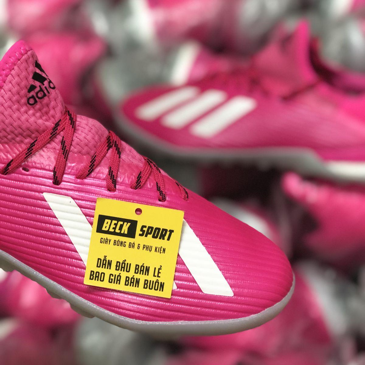 Giày Bóng Đá Adidas X 19.1 Hồng Vạch Trắng Đế Trắng TF