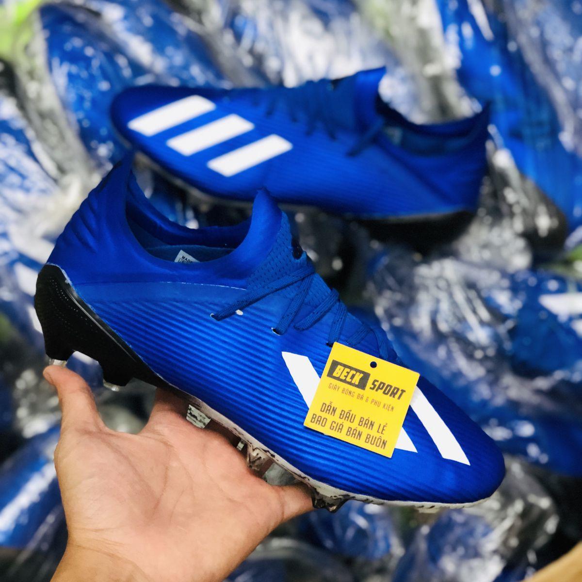 Giày Bóng Đá Adidas X 19.1 Xanh Biển Vạch Trắng Đế Đen FG
