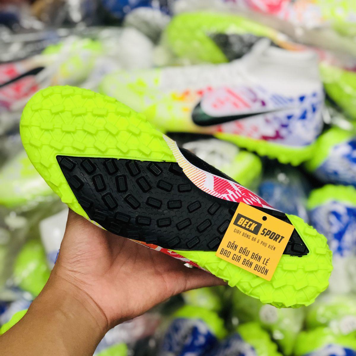 Giày Bóng Đá Nike Mercurial Superfly 13 Elite Nõn Chuối Đỏ Xanh Biển Vạch Đen Cao Cổ TF