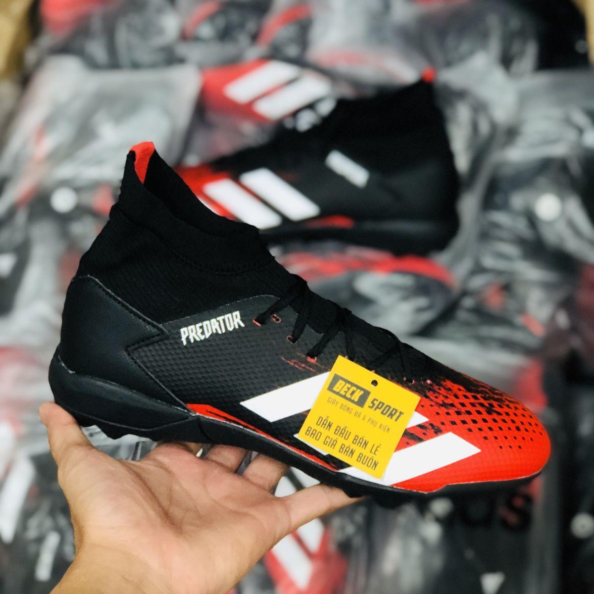 Giày Bóng Đá Adidas Predator 20.3 Đen Mũi Đỏ Vạch Trắng Cổ Cao HQ TF
