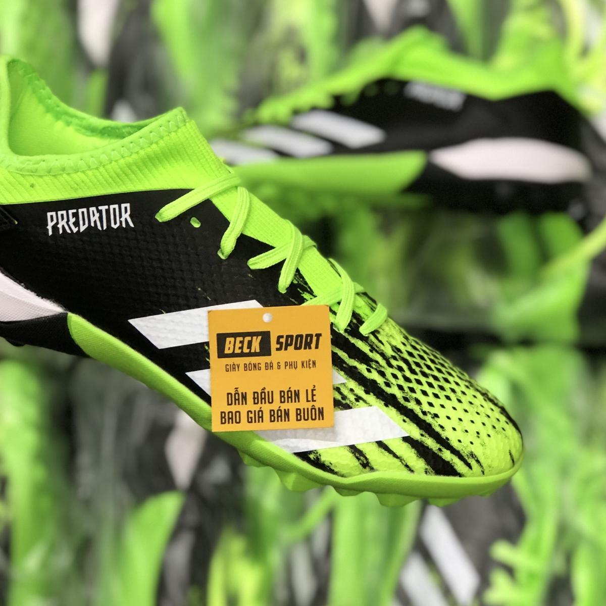 Giày Bóng Đá Adidas Predator 20.3 Đen Xanh Lá Vạch Trắng HQ TF