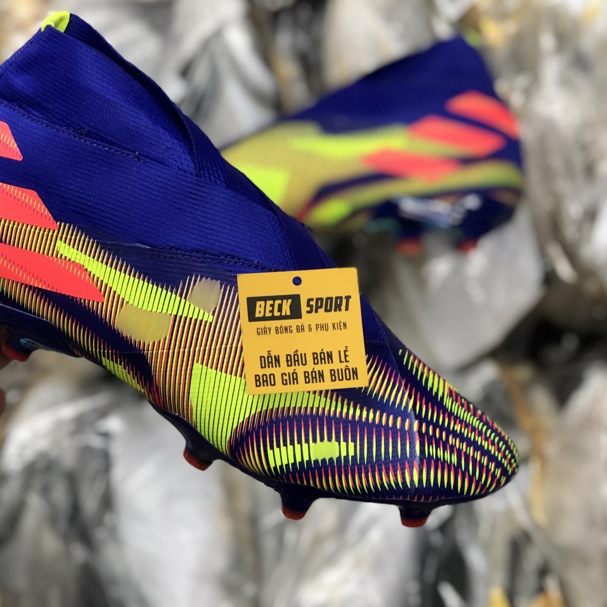 Giày Bóng Đá Adidas Nemeziz 19+ Tím Xanh Lá Vạch Cam Không Dây Cổ Cao FG