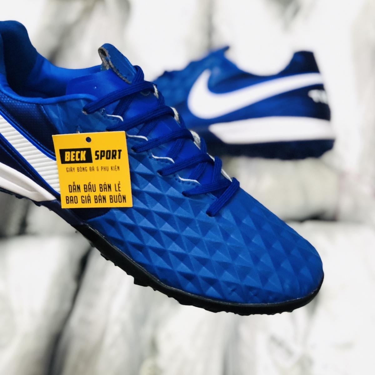 Giày Bóng Đá Nike Tiempo Legend 8 Pro Xanh Tím Than Vạch Trắng V2 TF