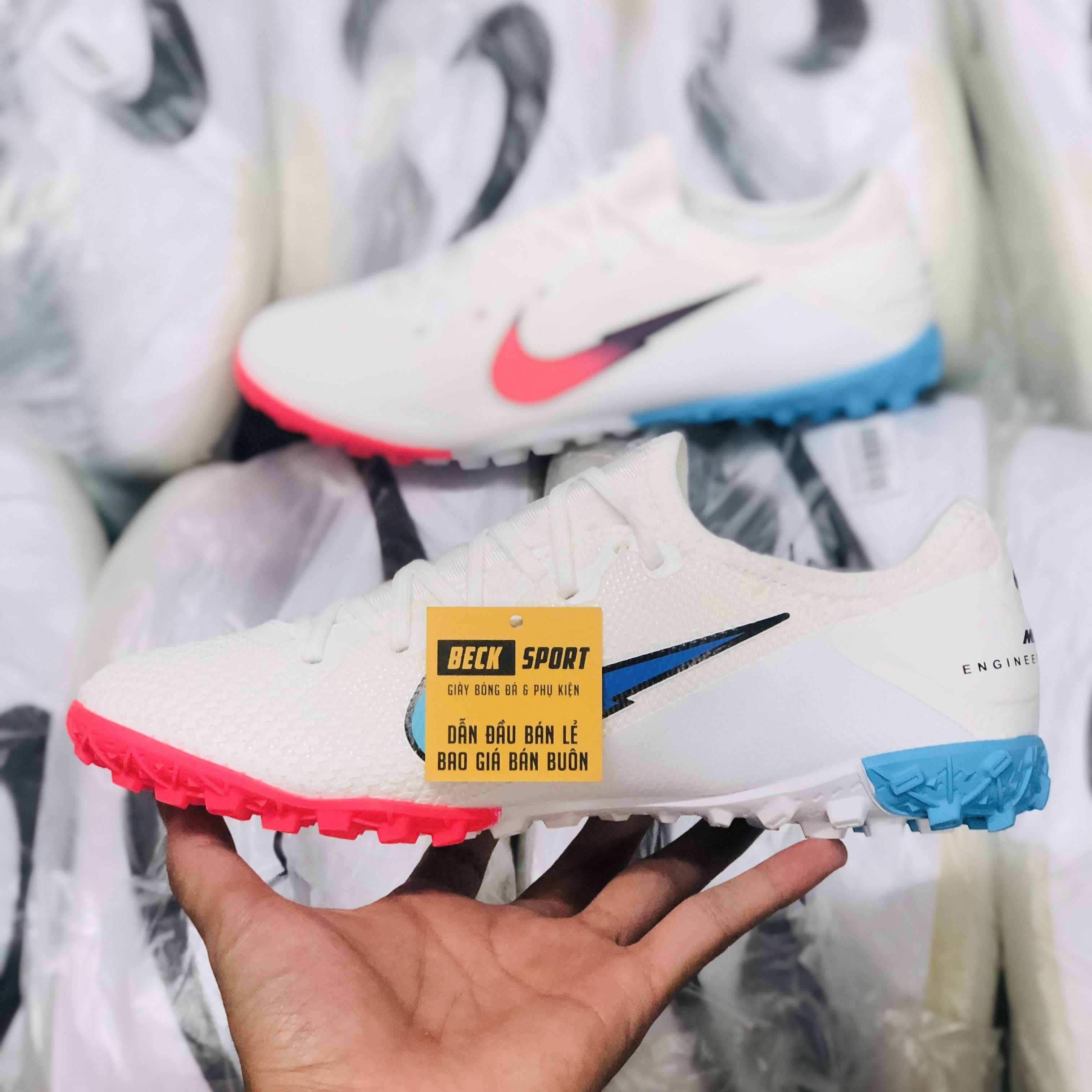 Giày Bóng Đá Nike Mercurial Vapor 13 Pro Olympics Trắng Vạch Hồng Cổ Lửng V2 TF
