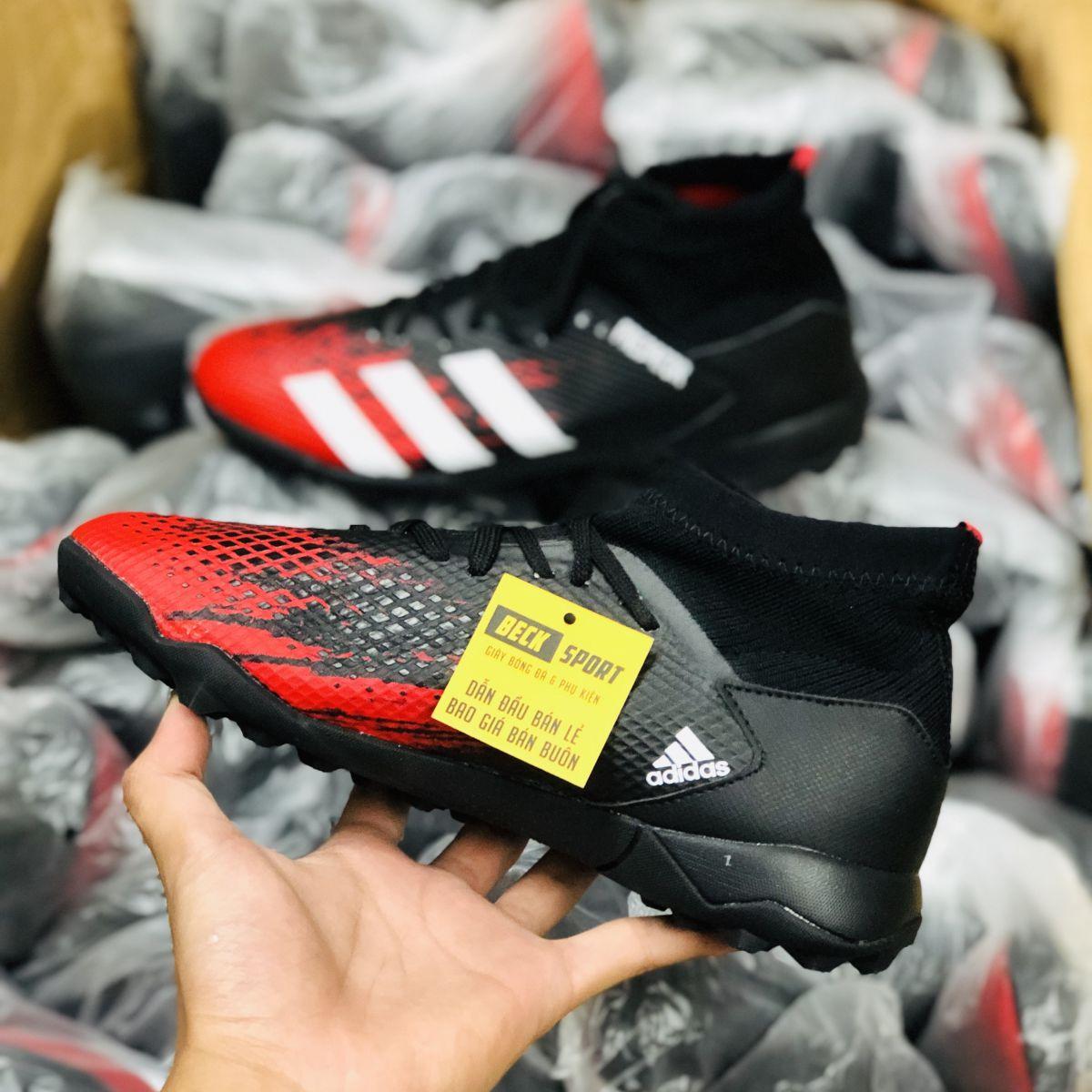 Giày Bóng Đá Adidas Predator 20.3 Đen Mũi Đỏ Vạch Trắng Cổ Cao HQ V2 TF