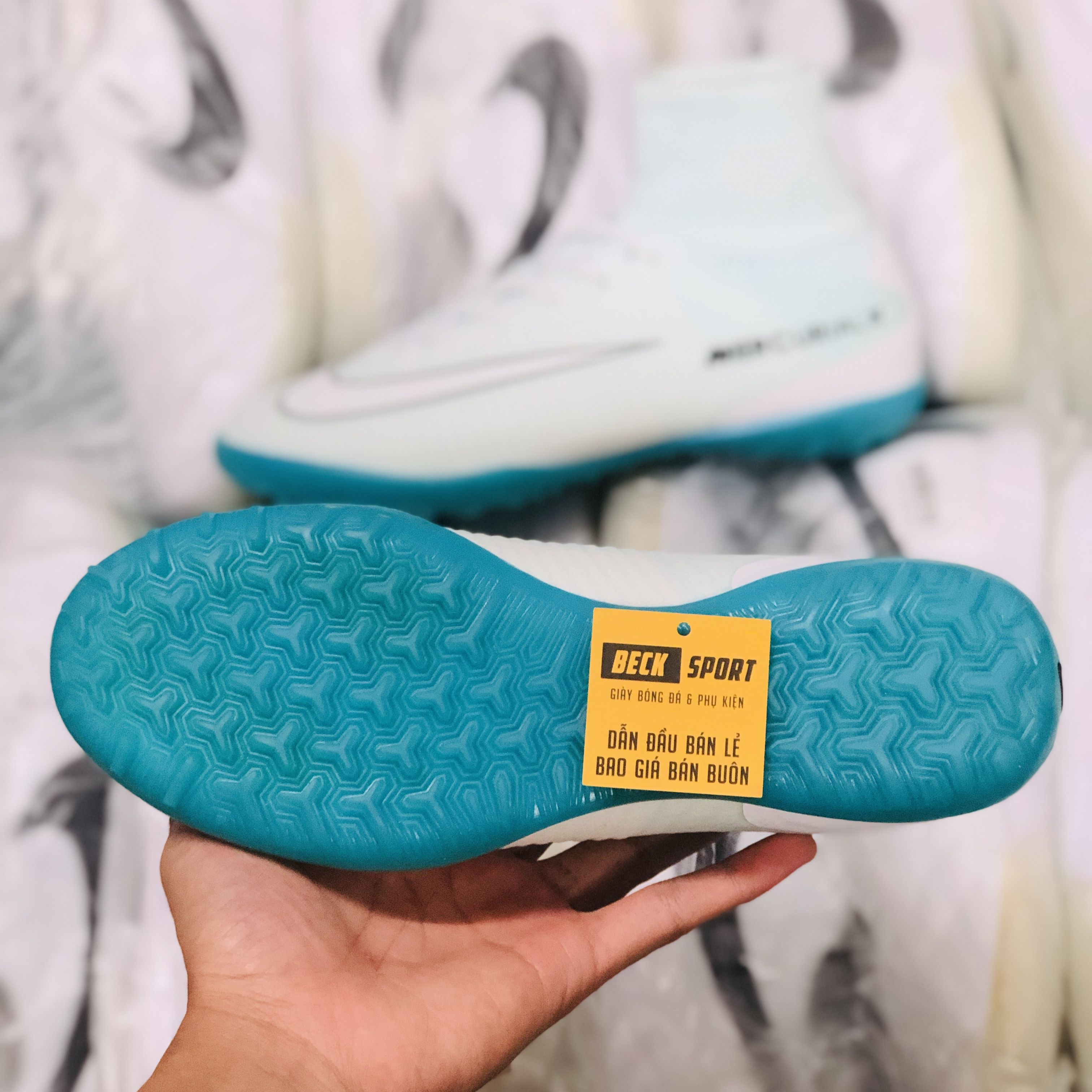 Giày Bóng Đá Nike MercurialX Superfly CR7 Trắng Đế Xanh Biển Cổ Cao TF