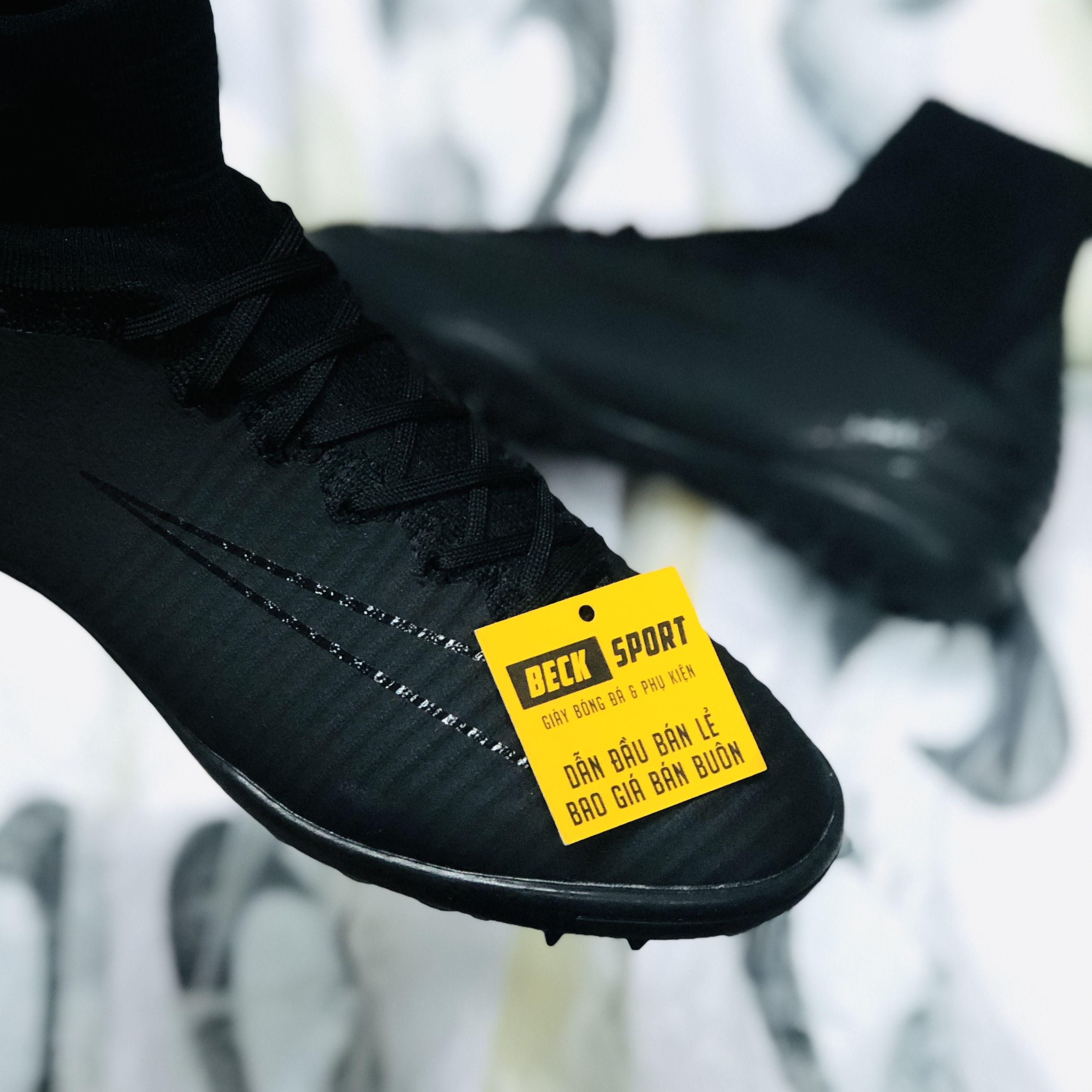 Giày Bóng Đá Nike MercurialX Superfly Đen Tuyền Cổ Cao TF