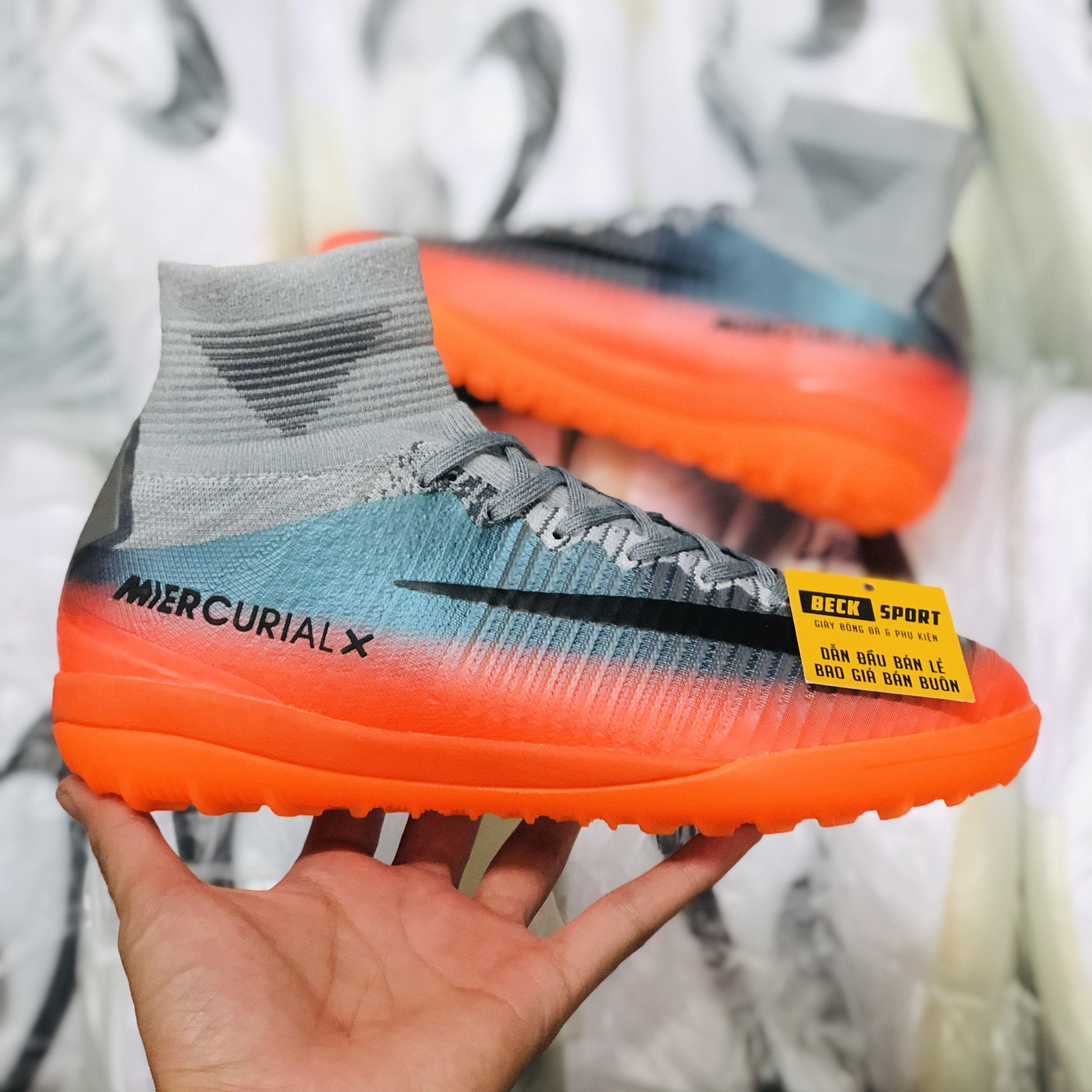 Giày Bóng Đá Nike MercurialX Proximo Superfly CR7 Xám Cam Vạch Đen Cổ Cao TF