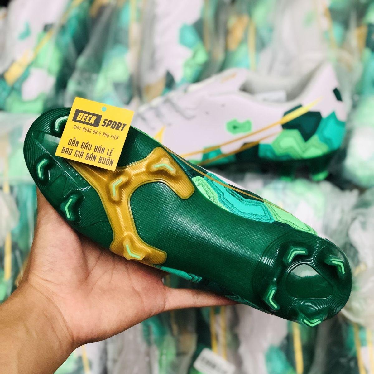 Giày Bóng Đá Nike Mercurial 13 Academy Xám Xanh Lục Vạch Vàng FG