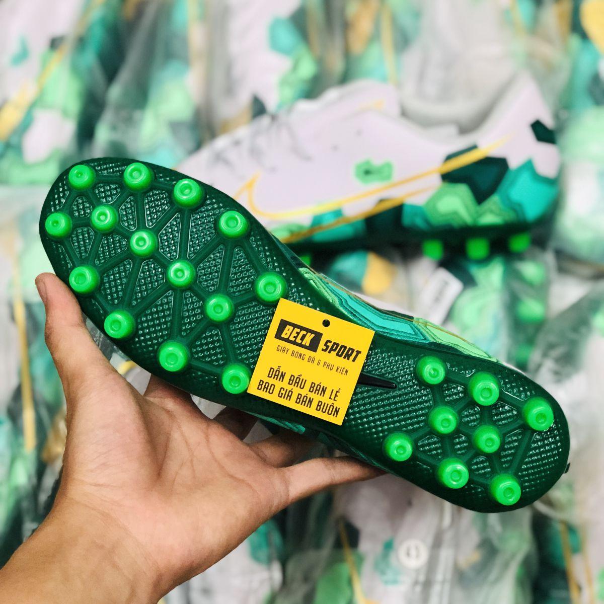 Giày Bóng Đá Nike Mercurial 13 Academy Xám Xanh Lục Vạch Vàng AG