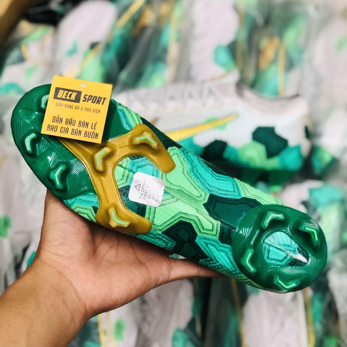 Giày Bóng Đá Nike Mercurial Vapor 13 Elite Mbappe Xám Xanh Lục Vạch Vàng V2 FG