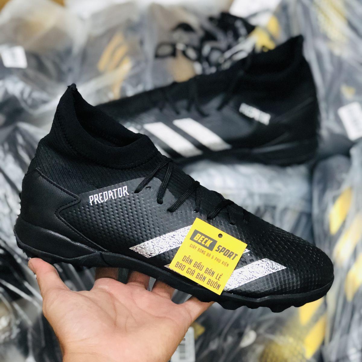 Giày Bóng Đá Adidas Predator 20.3 Đen Vạch Bạc Cao Cổ TF