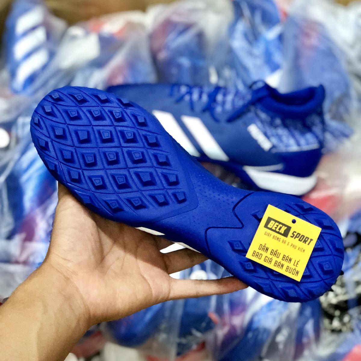 Giày Bóng Đá Adidas Predator 20.3 Xanh Biển Vạch Trắng Cổ Cao TF
