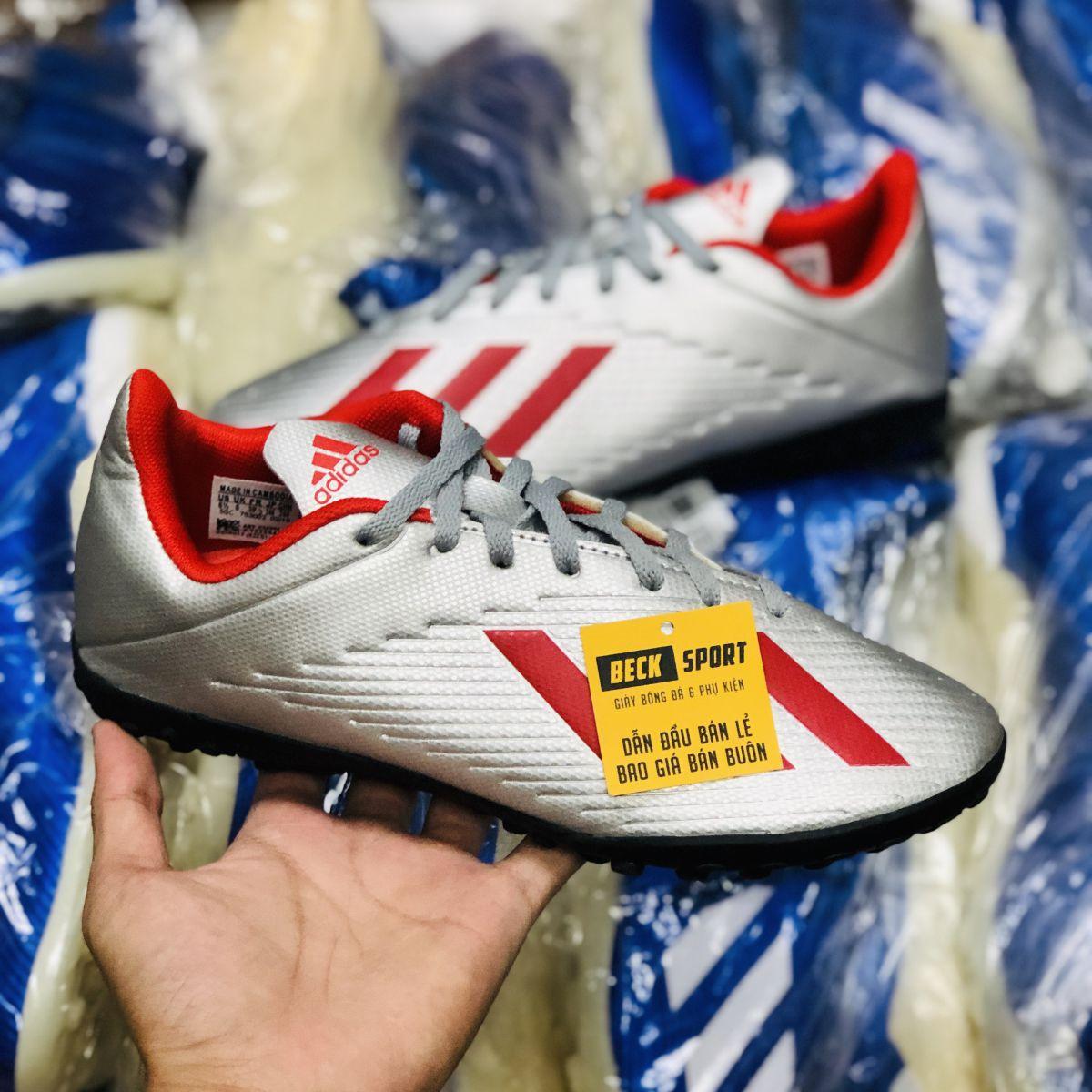 Giày Bóng Đá Adidas X 19.4 Bạc Vạch Đỏ Đế Đen TF